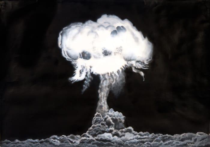 Plumbbob Test. Acrylic on paper, 100 x 70 cm, 2017