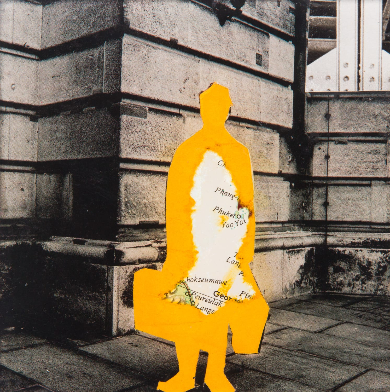 Traveler. Collage on acrylic, magnet, 11 x 11 cm, 2018
