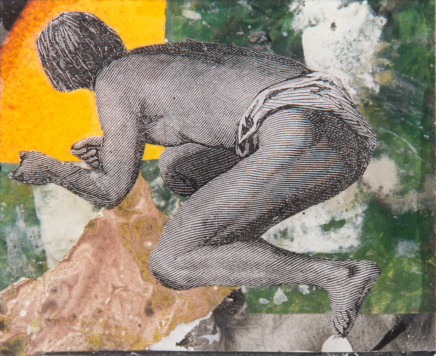 The ages of Man.  Collage on acrylic, magnet, 11 x 9 cm,  2018