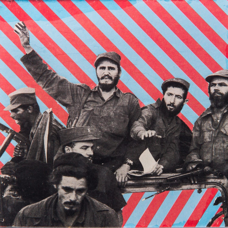Barbudos. Collage on acrylic, magnet, 12 x 11 cm, 2018