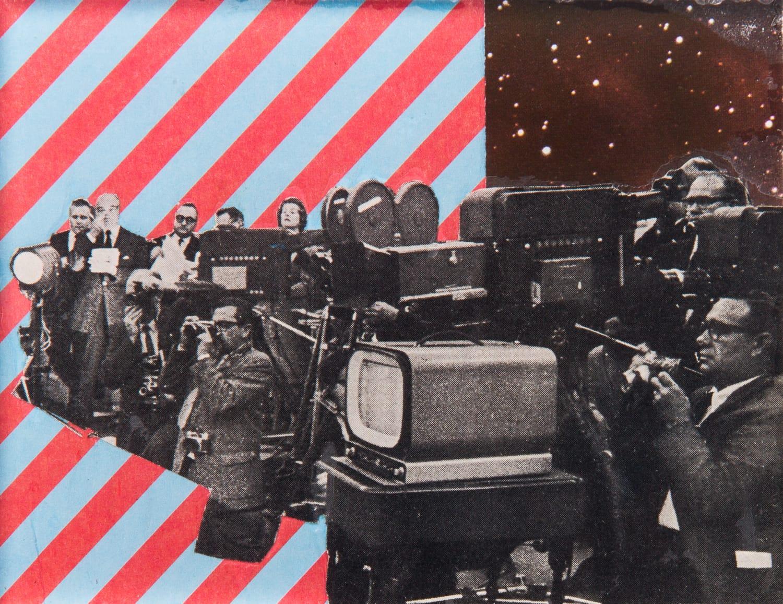 Mass Media. Collage on acrylic, magnet, 12 x 9 cm, 2018