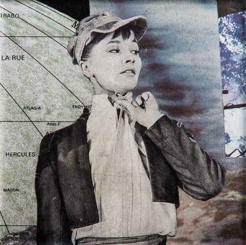 Rider. Collage on acrylic, 12 x 12 cm, 2019