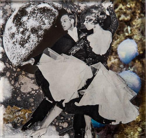 Swing. Collage on acrylic, wood, 12 x 12 cm, 2019