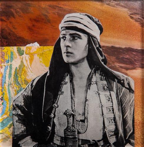 Lawrence of Arabia. Collage on acrylic, wood, 12 x 12 cm, 2019