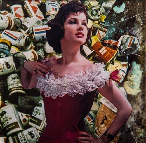20th Century. Collage on acrylic, wood, 12 x 12 cm, 2019