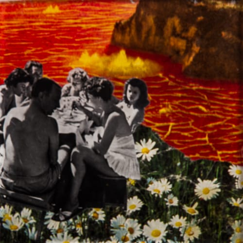 Camping in hell. Collage on acrylic, wood, 12 x 12 cm, 2019