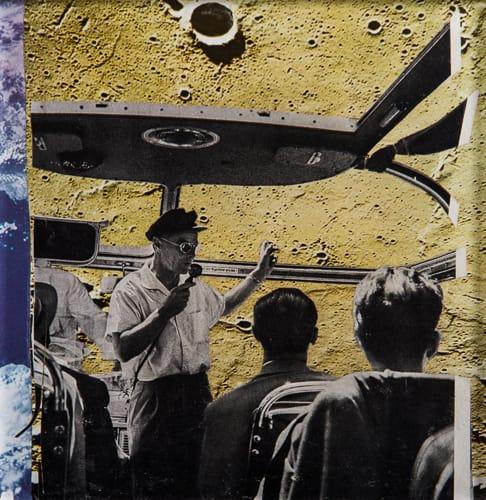 Moon giuded tours. Collage on acrylic, wood, 12 x 12 cm, 2019