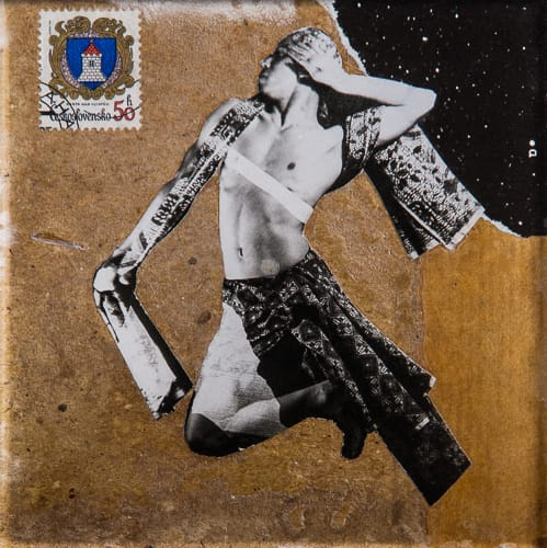 Dancer - The letter. Collage on acrylic, wood, 12 x 12 cm, 2019