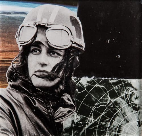 The Pilot. Collage on acrylic, wood, 11 x 12 cm, 2019