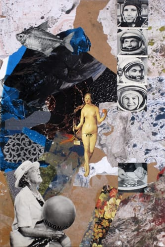 Gagarin. Collage and acryl on wood, 40 x 60 cm, 2011