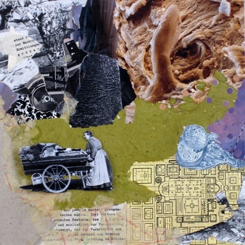 Other worlds II. Collage and acryl on wood, 25 x 25 cm, 2011
