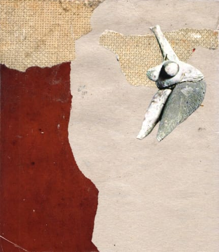 Klebemich III. Collage on wood, 17 x 19 cm, 2010