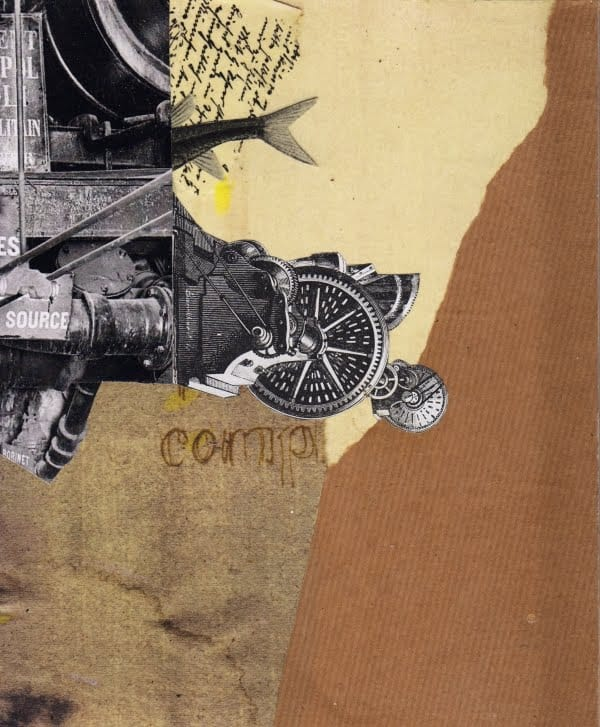 Klebemich XXX. Collage and ink on wood, 20 x 25 cm, 2010