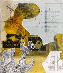 Klebemich XXXII. Collage and ink on wood, 21 x 24 cm, 2010