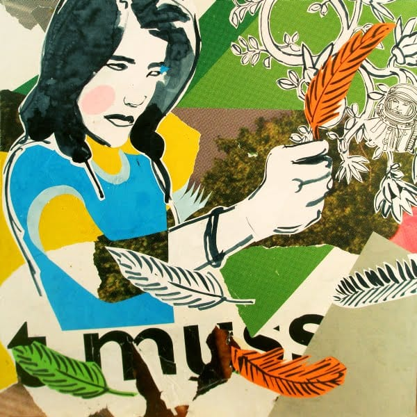Feder. Collage and ink on wood, 55 x 55 cm, 2009