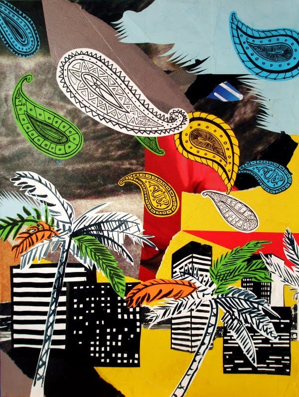 Der Angriff des Paisley. Collage and ink on wood, 60 x 80 cm, 2009