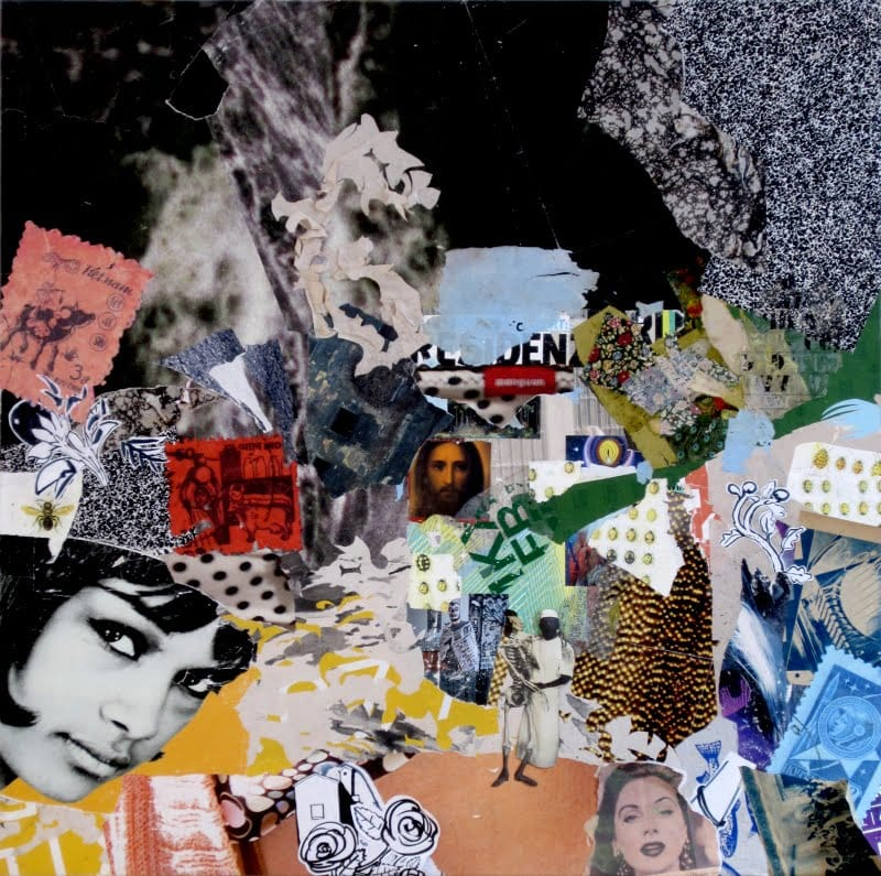 Untitled II. Collage and ink on wood, 150 x 150 cm, 2009