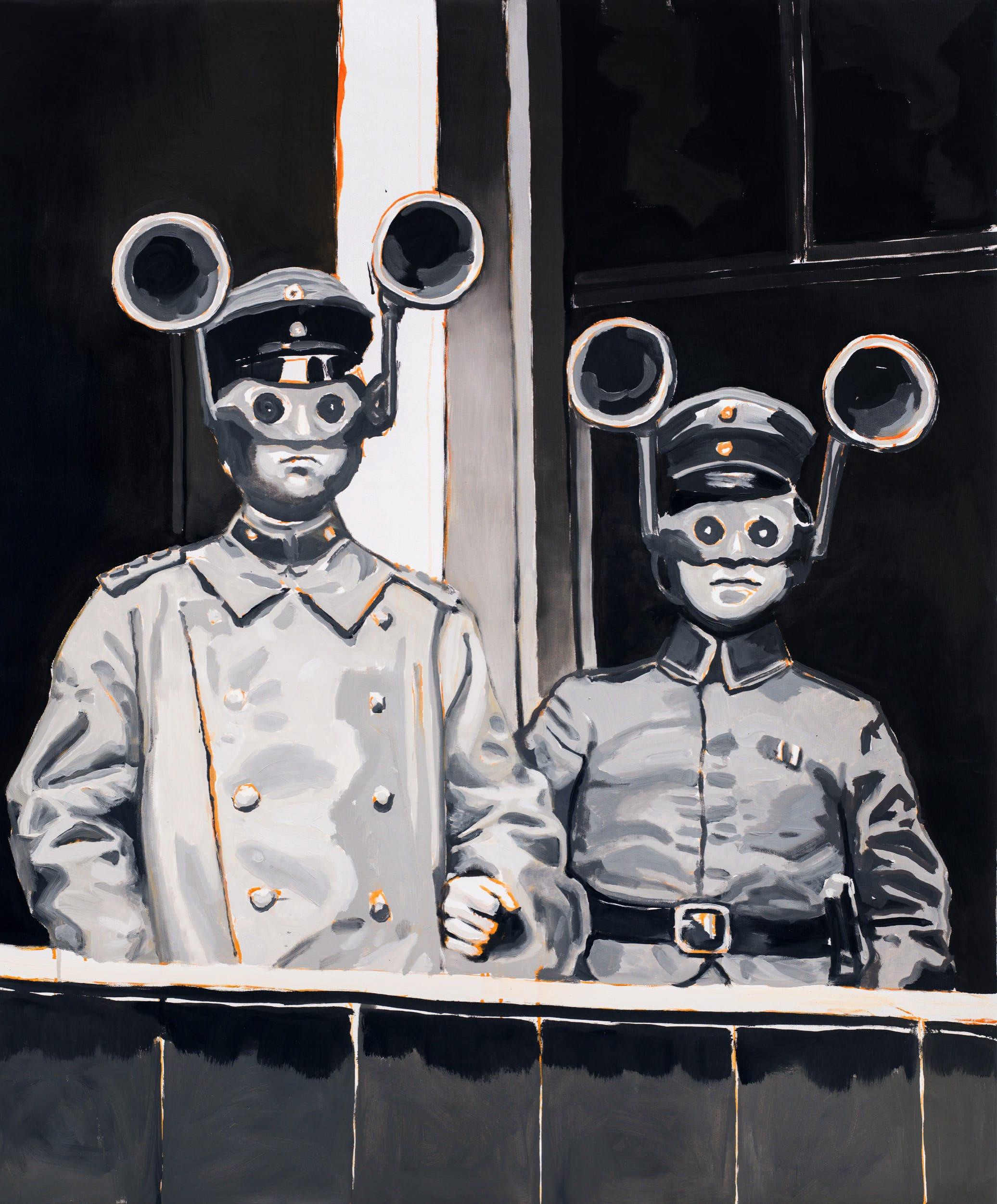 Acoustic locators. Oil on canvas, 80 x 100 cm, 2019