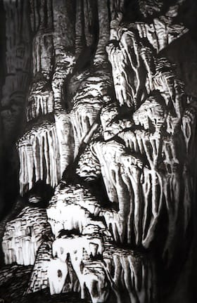 Dragon Caves II. Ink on paper, 140 x 220 cm, 2017