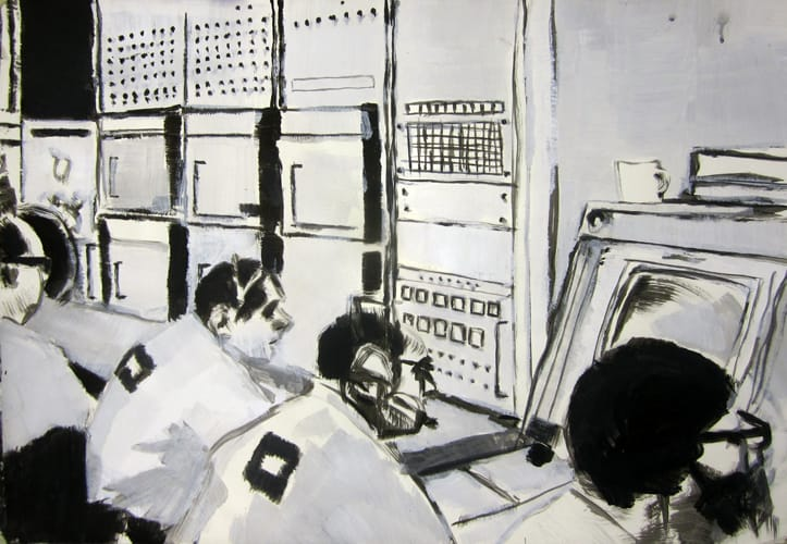 Apollo Mission Control. Gouache on paper, 100 x 70 cm, 2012
