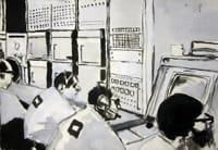 Apollo Mission Control. Gouache on paper, 100 x 70 cm, 2012