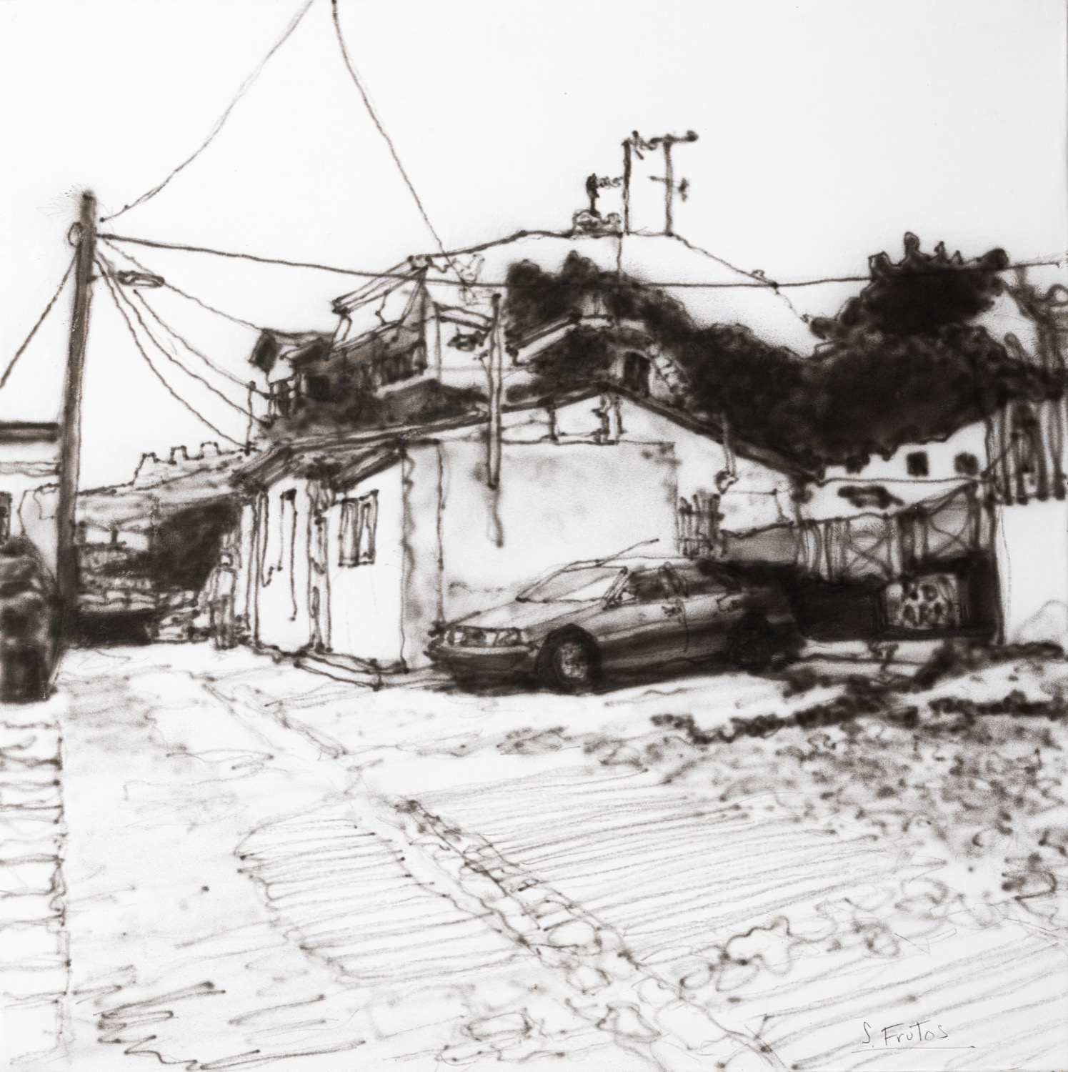 Anapoli, Thessalonika. Ink on paper on wood, 30 x 30 cm, 2019