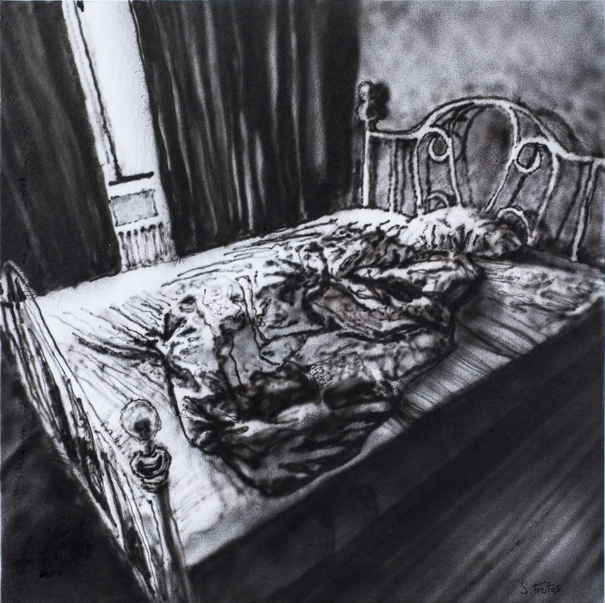 Bed, Amsterdam. Ink on paper on wood, 30 x 30 cm, 2018