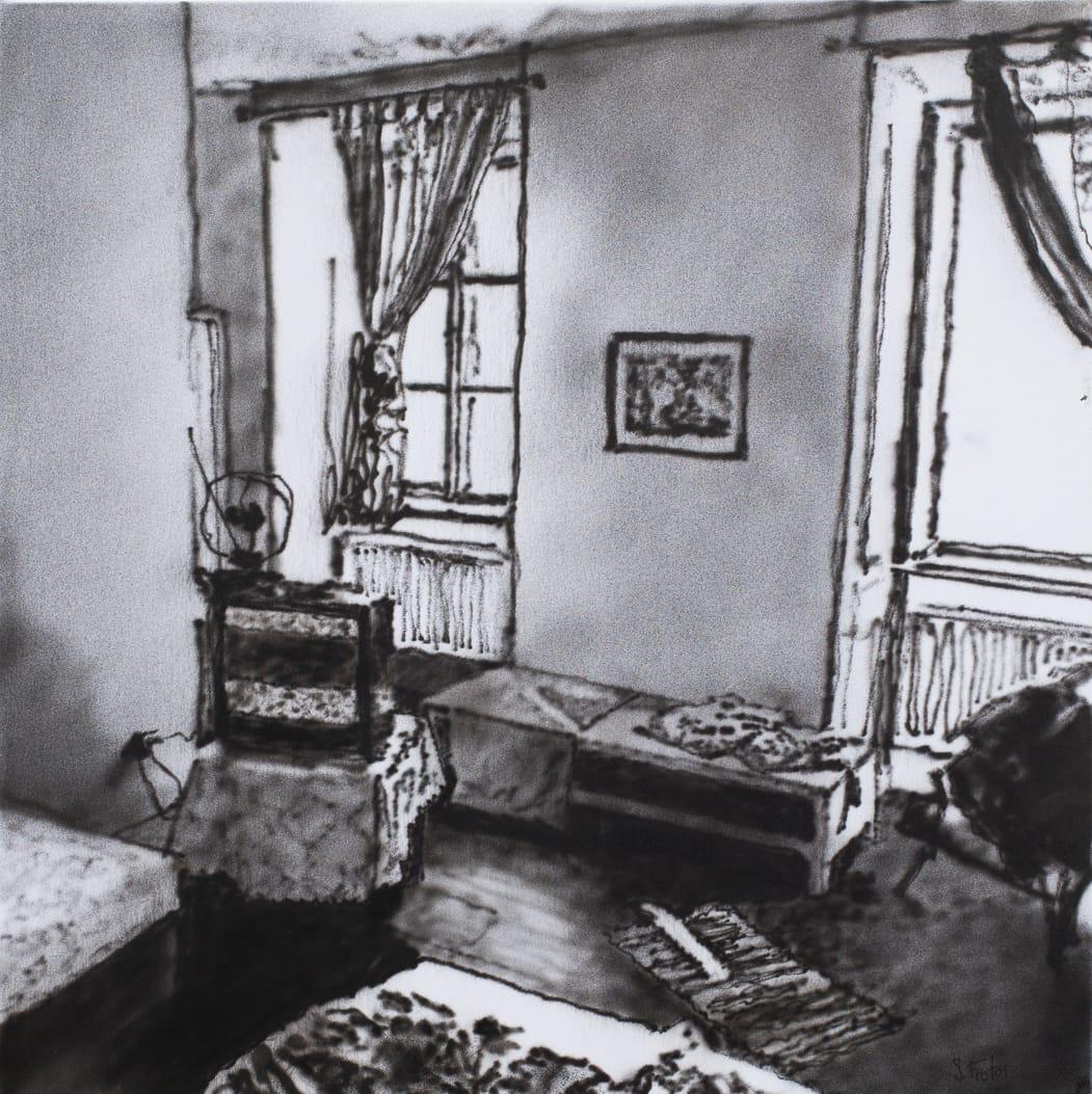 Brno, Hotel Room. Ink on paper on wood, 30 x 30 cm, 2018