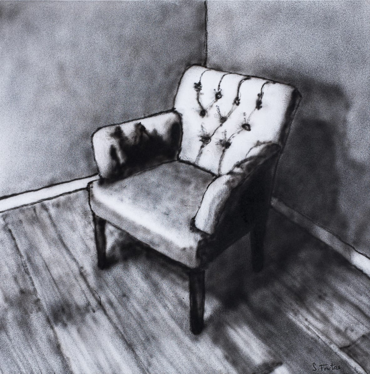 Couch, Amsterdam. Ink on paper on wood, 30 x 30 cm, 2018