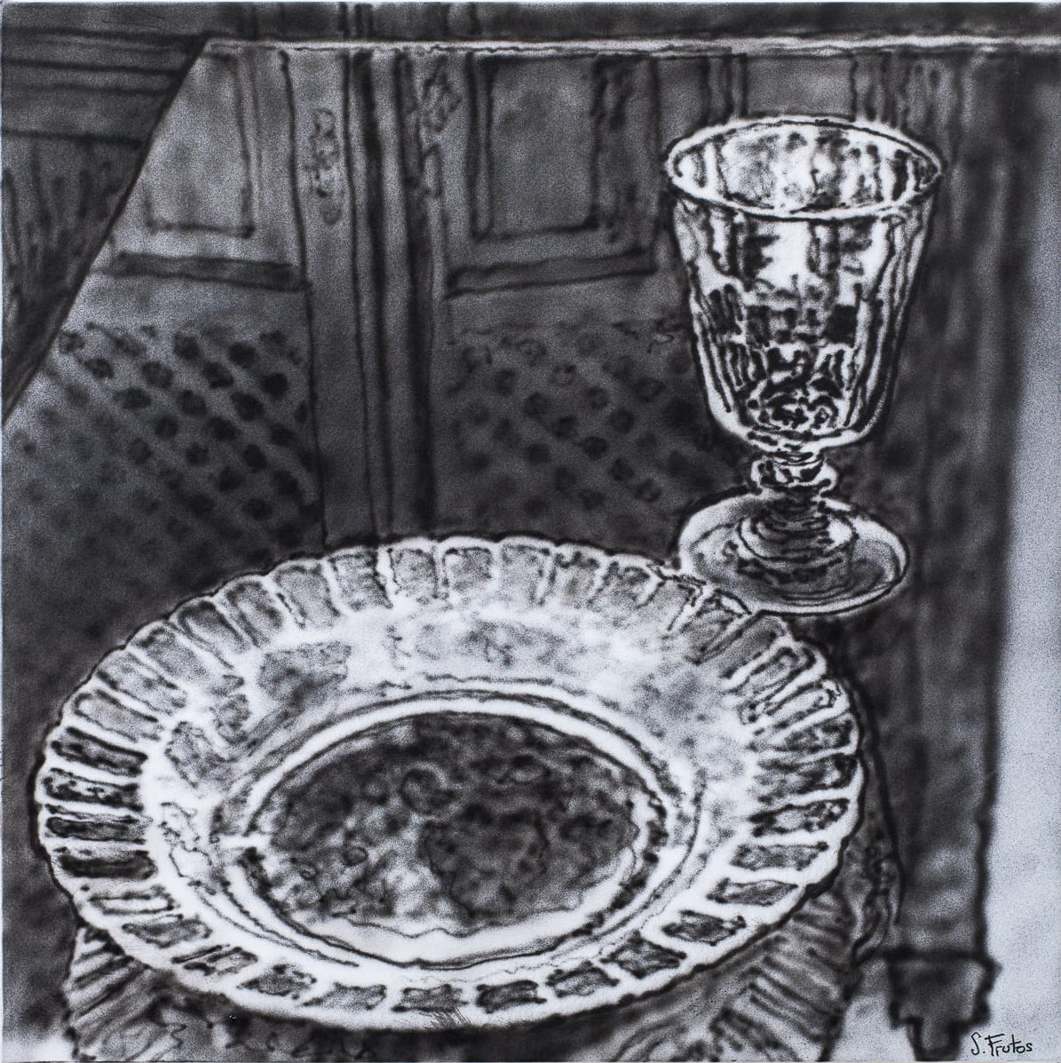 Glass and Dish, Villarrubia. Ink on paper on wood, 30 x 30 cm, 2018