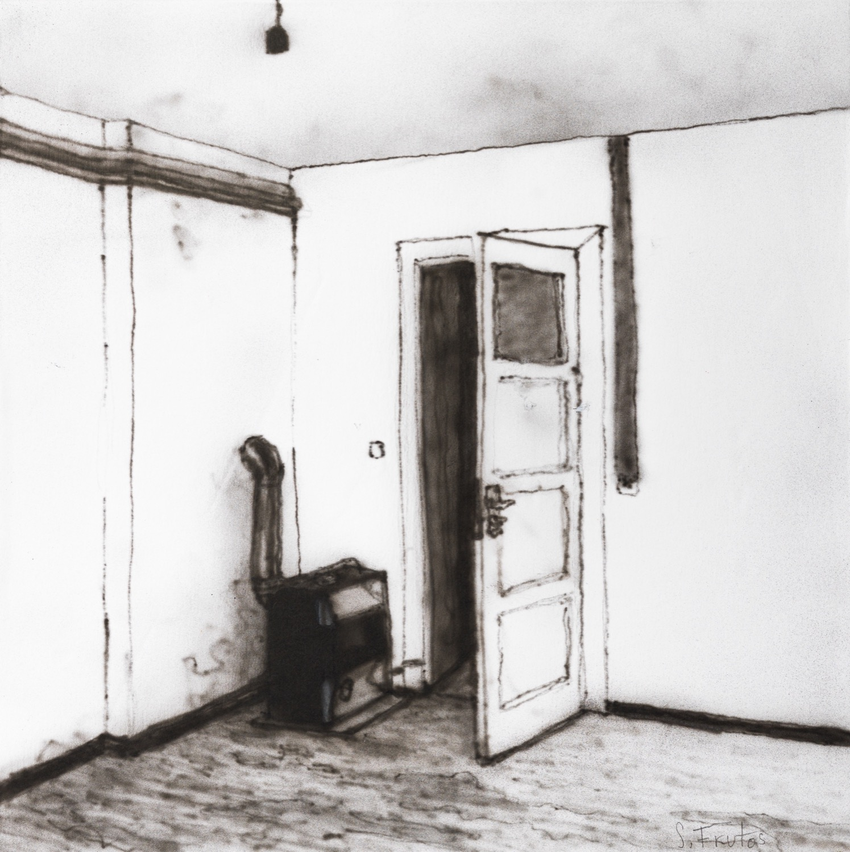Oven at Luke's Studio. Ink on paper on wood, 30 x 30 cm, 2019