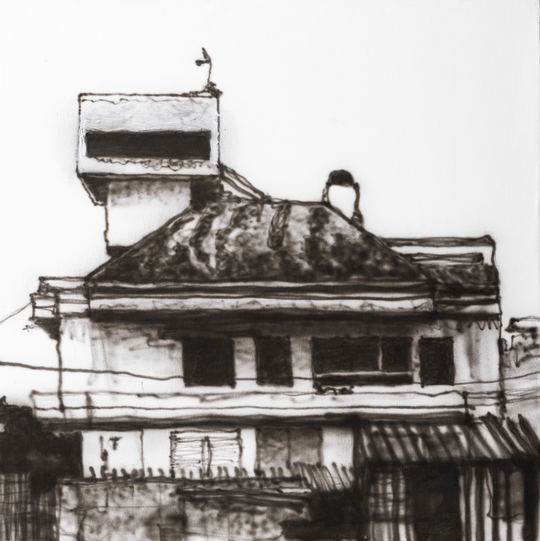 Palma de Mallorca. Ink on paper on wood, 30 x 30 cm, 2019