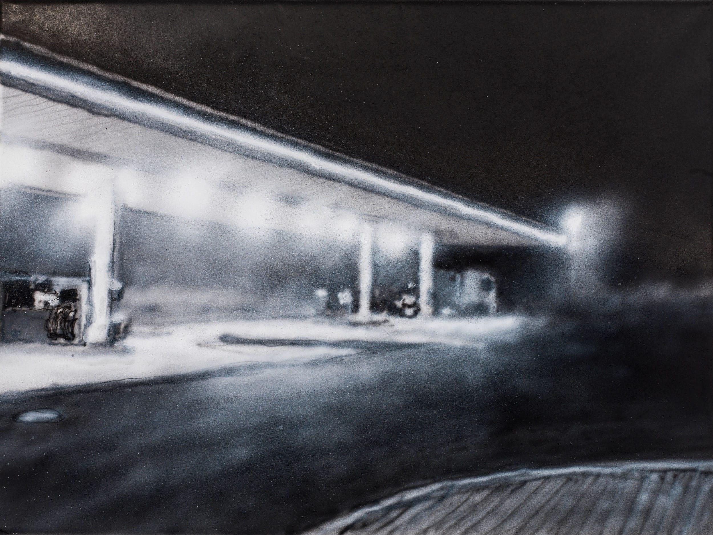 Tankstelle, Magdeburg. Ink on paper, 40 x 30 cm, 2019