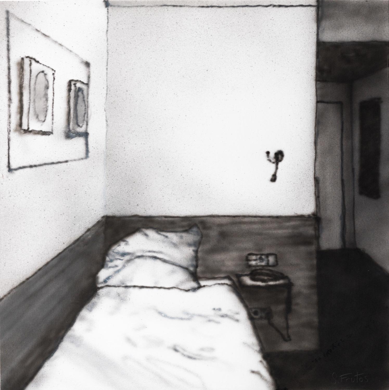 Wolfsburg, Hotel room. Ink on paper on wood, 30 x 30 cm, 2019