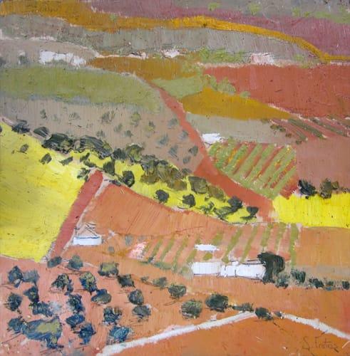 Campos de Castilla IV. Oil on wood, 30 x 30 cm, 2011