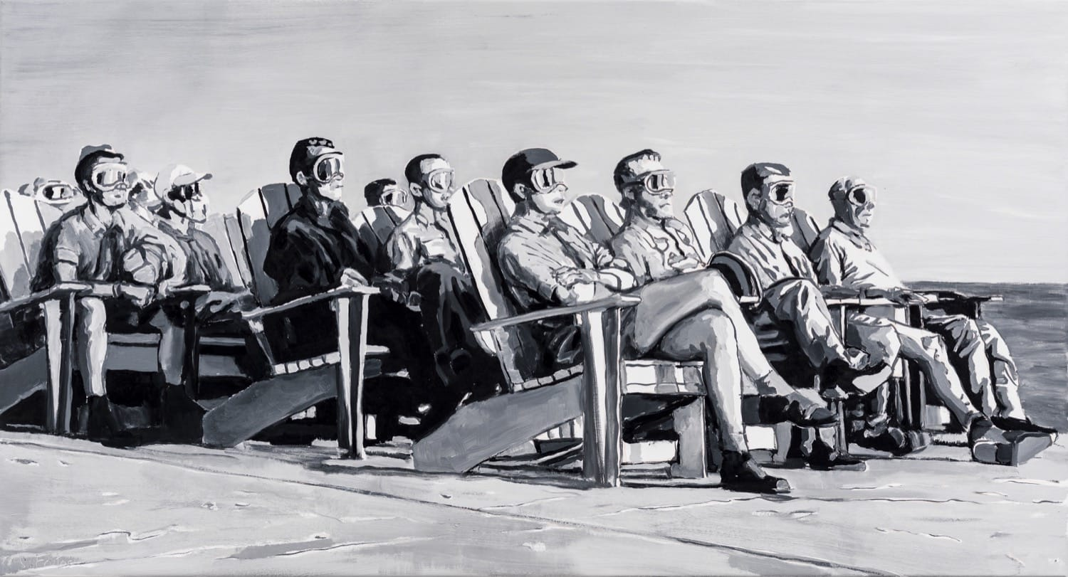 VIP Observers, Operation Greenhouse .  Oil on canvas, 148 x 80 cm,  2020
