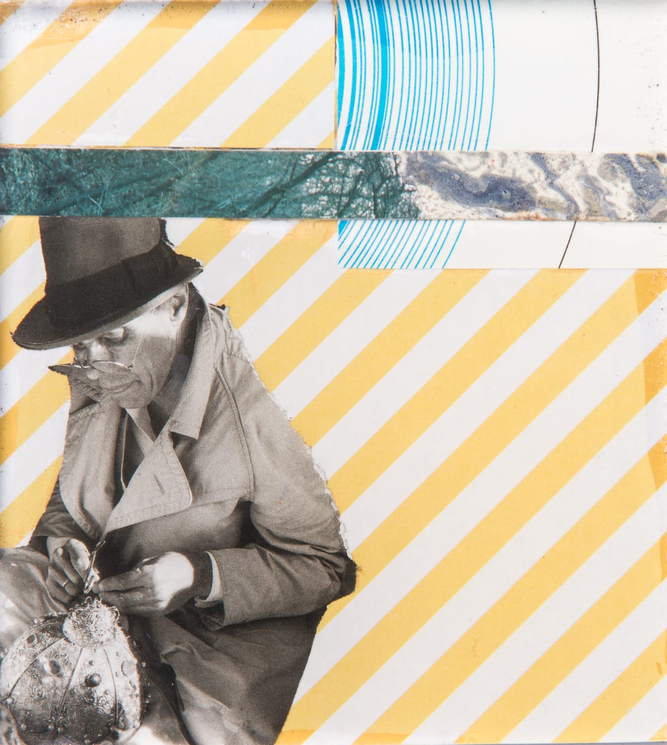 Beuys. Collage on acrylic, magnet, 10 x 11 cm, 2018