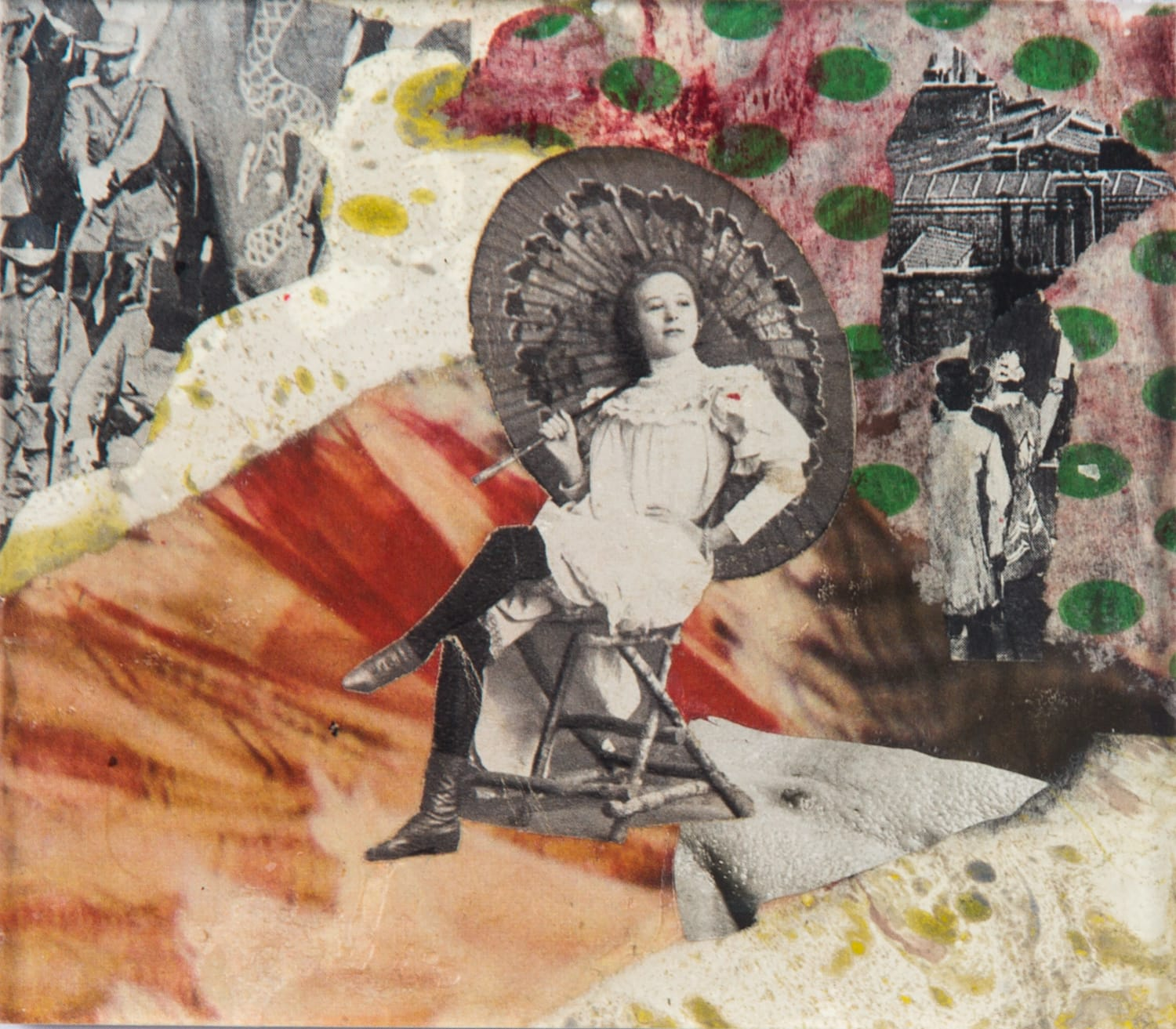 Miss Daisy. Collage on acrylic, magnet, 11 x 10 cm, 2018