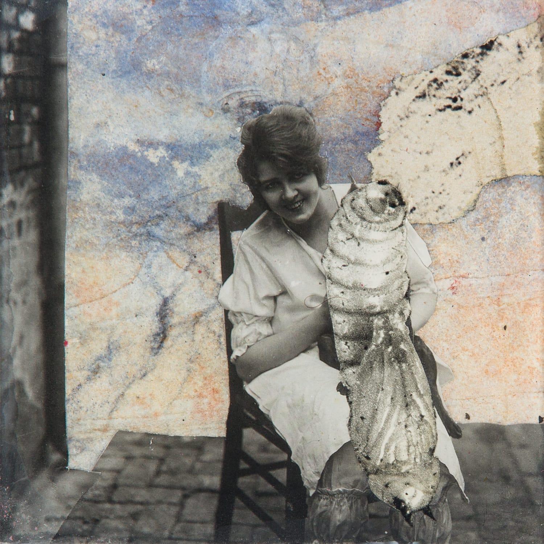 Meine Liebe.  Collage on acrylic, magnet, 11 x 11 cm,  2018