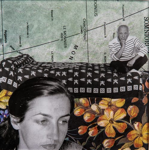 Françoise Gilot. Collage on acrylic, 12 x 12 cm, 2019