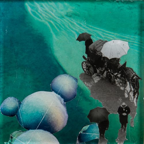 La rivière. Collage on acrylic, wood, 12 x 12 cm, 2019