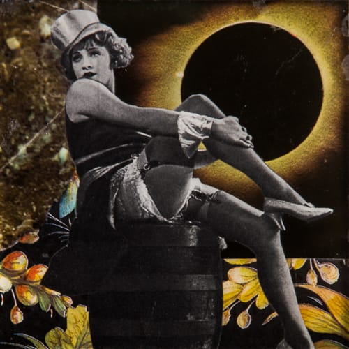Black Sun Cabaret. Collage on acrylic, wood, 13 x 12 cm, 2019