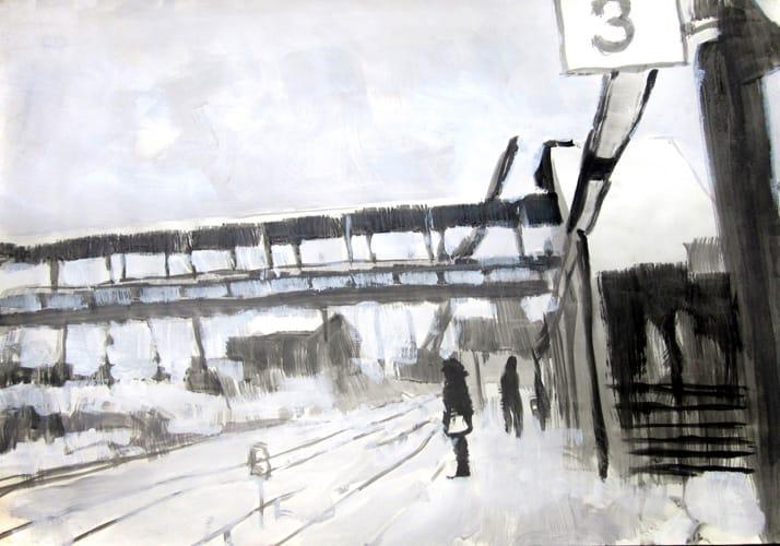 Winter II.  Gouache on paper, 100 x 70 cm,  2011
