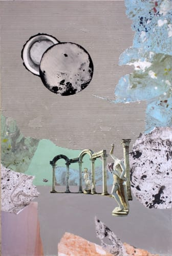 Neue Welt.  Collage and acryl on wood, 40 x 60 cm,  2011