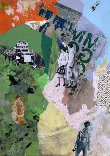 Mirage.  Collage and acryl on wood, 40 x 60 cm,  2011