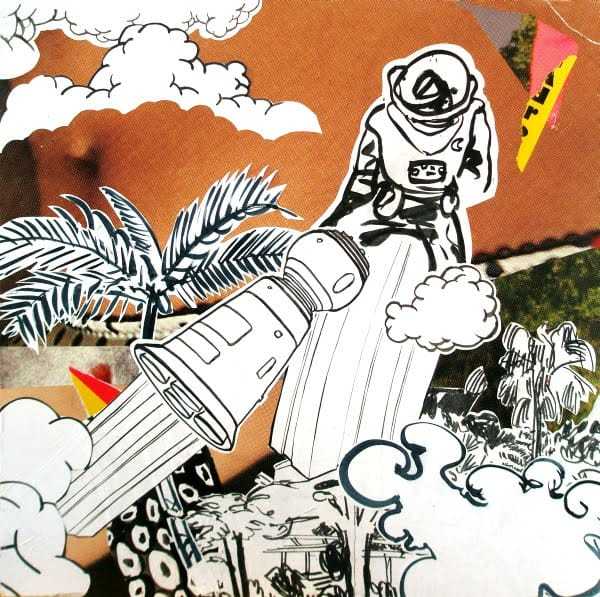 Der letzte Kosmonaut.  Collage and ink on wood, 55 x 55 cm,  2009