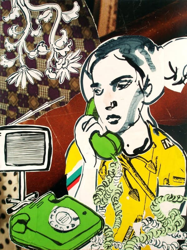 Besetz.  Collage and ink on wood, 60 x 80 cm,  2009