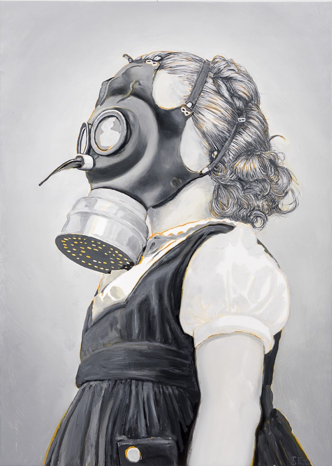 Children's Gas Mask.  Oil on canvas, 100 x 140 cm,  2020