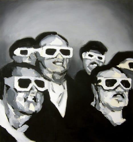 3D Kino I.  Oil on canvas on wood, 70 x 75 cm,  2012