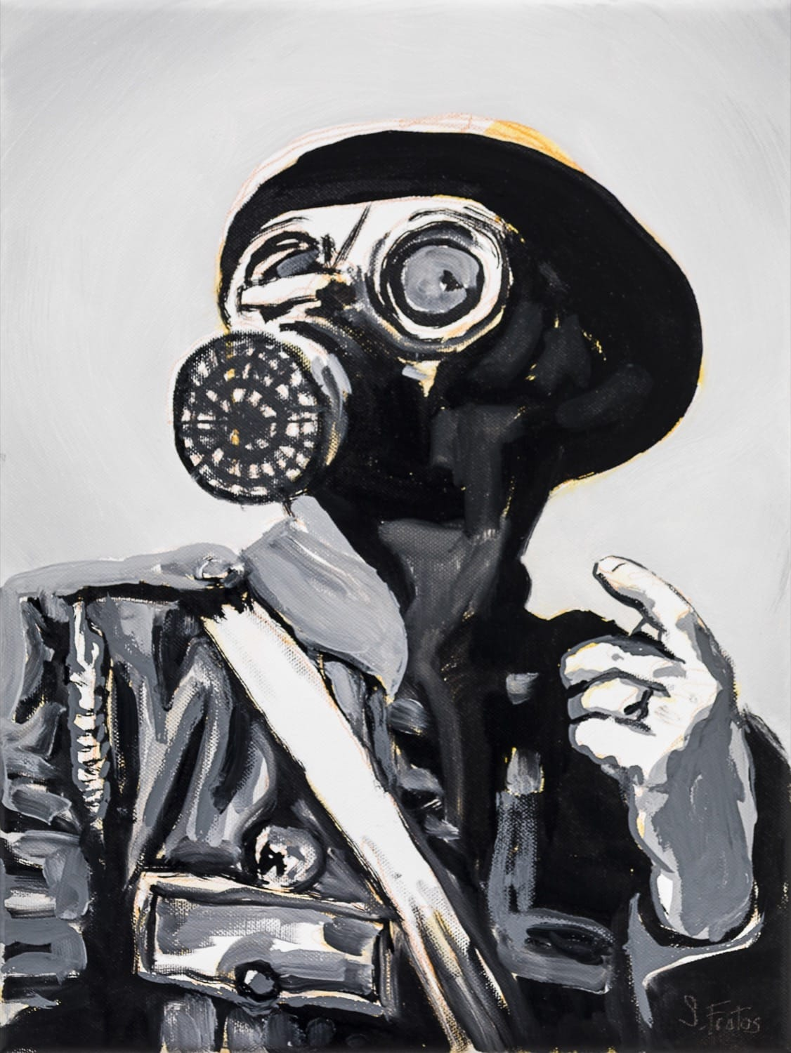 Air Raid Warden. Oil on canvas, 30 x 40 cm, 2020
